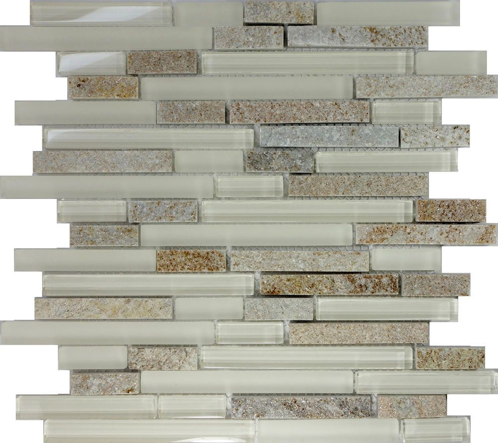 Sample Marble Green Brown Glass Linear Mosaic Tile: SAMPLE- Cream Beige Glass Natural Stone Linear Mosaic Tile