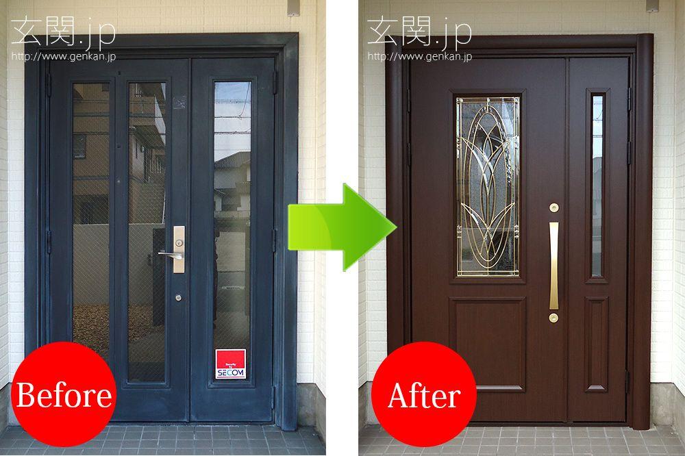 本物のステンドグラス 最高級玄関ドアへの交換事例 玄関 リフォーム