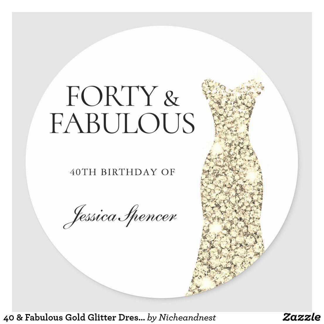 40 Fabulous Gold Glitter Dress 40th Birthday Classic Round Sticker Zazzle Com Gold Glitter Dress Glitter Dress 40 And Fabulous [ 1106 x 1106 Pixel ]