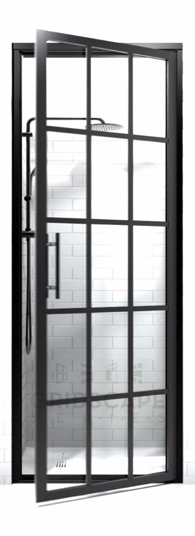 Black Frame Hinged Shower Doors with Grids | Gridscape by Coastal Shower Doors