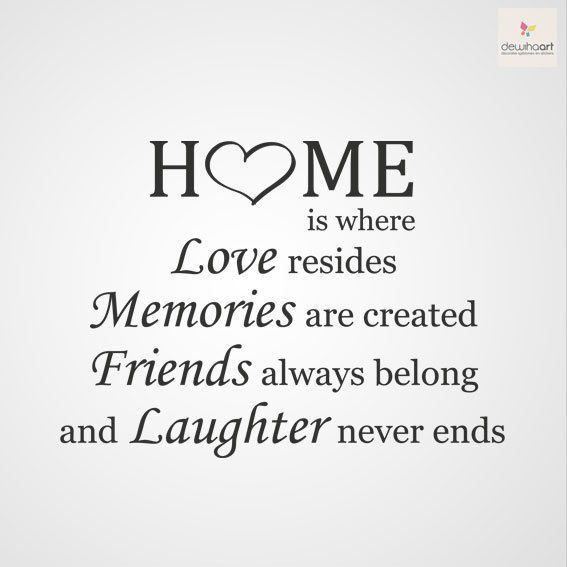 """Home Is Where Love Resides, Memories Are Created, Friends"