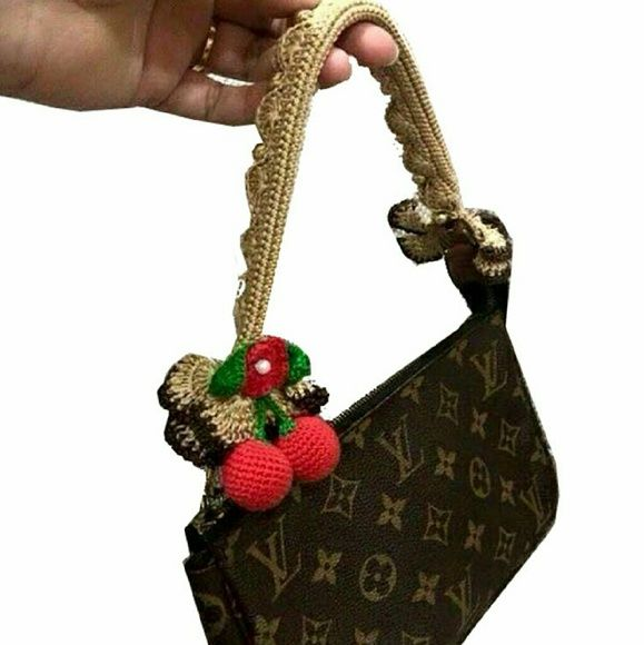 Crochet Bag Handle Cover Pattern : Louis Vuitton bag crochet handle cover Pochette NWT ...