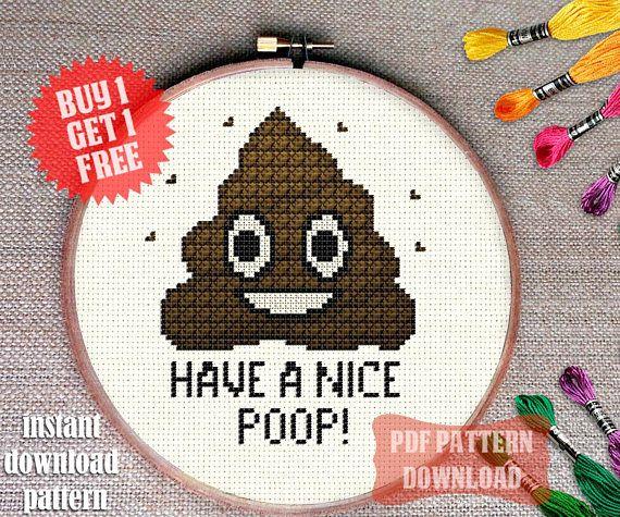 POOP Funny Cross Stitch Pattern Emoji Crossstitch Chart Humor Extraordinary Funny Cross Stitch Patterns Free