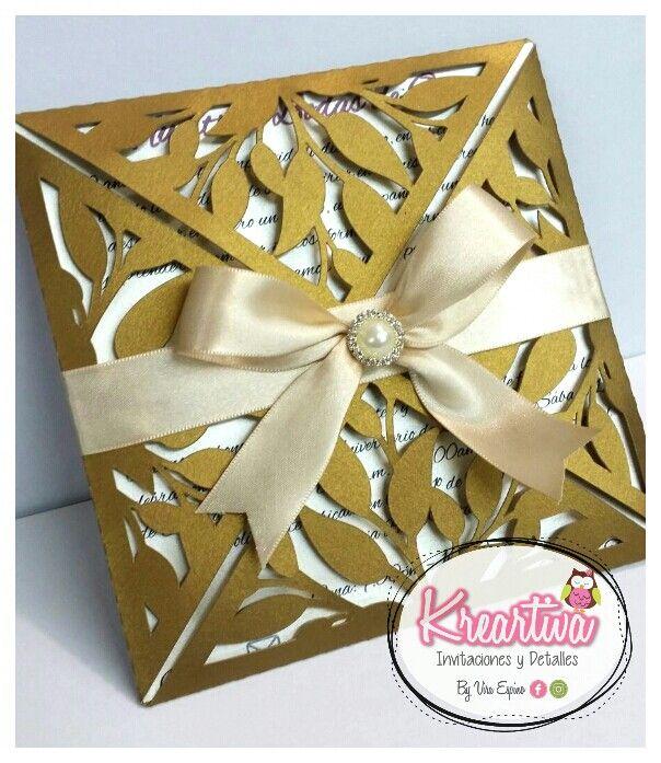 invitacin calada para bodas de oro en colores dorado con beige