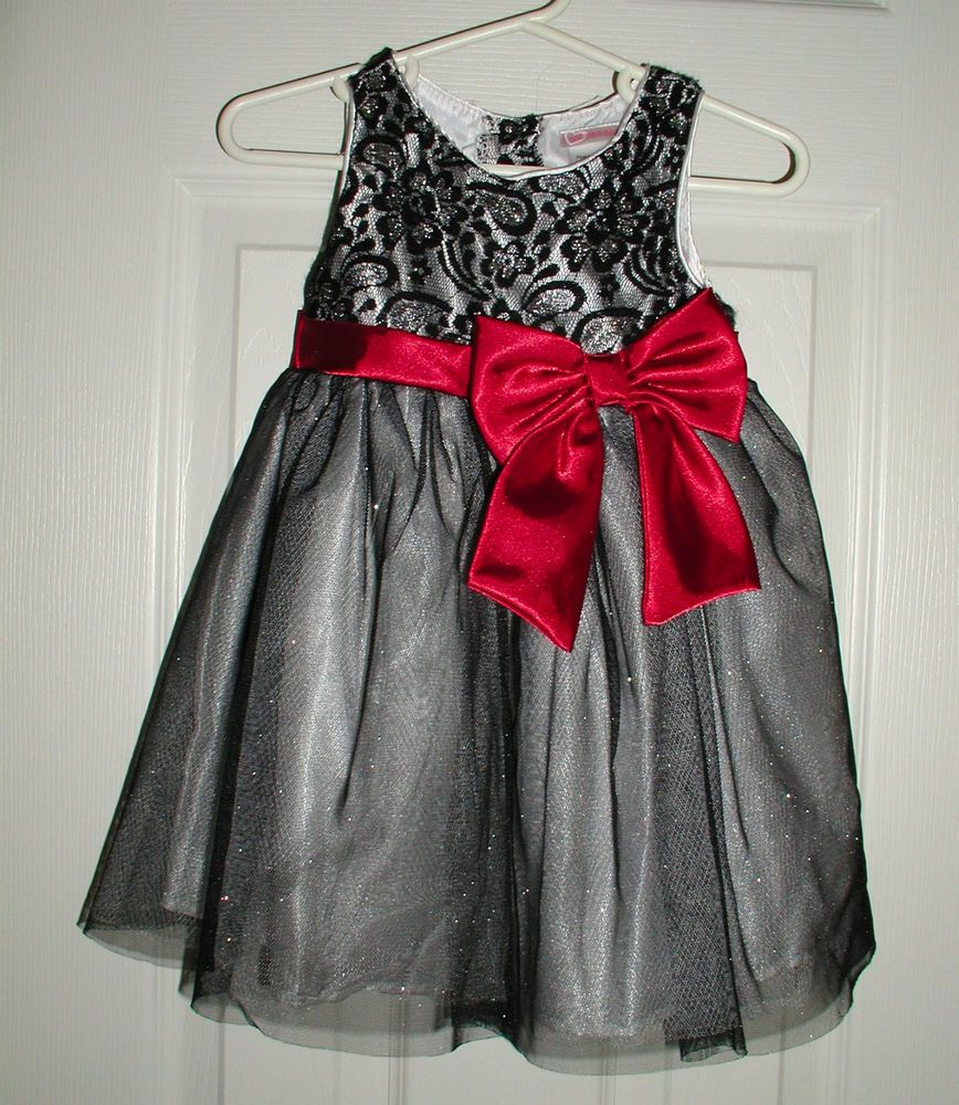 Black dress wred bow t girls pageant dress wedding flower girl