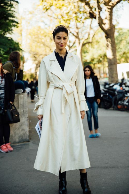 Cream Coat Street style fashion