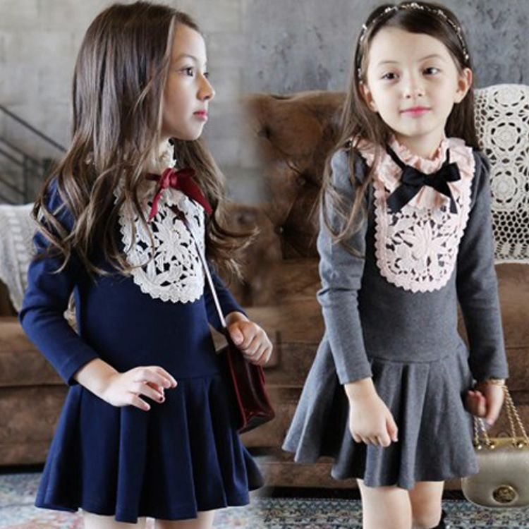 30d83a522 Baby Girls Autumn Winter Lace Collar Bow Party Dresses,Kids Korean Fashion  Long-Sleeved Lace Princess Dress, Children Casual Clo