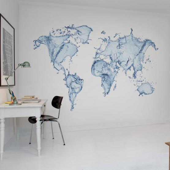 Fototapeta Dynamiczna Mapa Swiata Z Lejacej Sie Wody Sklep Styl Studio Wnetrz Home Decor Home Decor Decals Decor