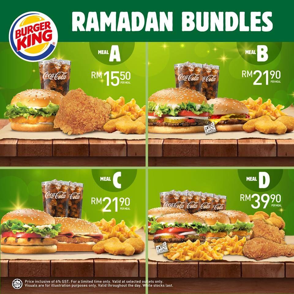 Burger King Ramadan Bundles Promotion In Malaysia Food Menu Design Burger Food