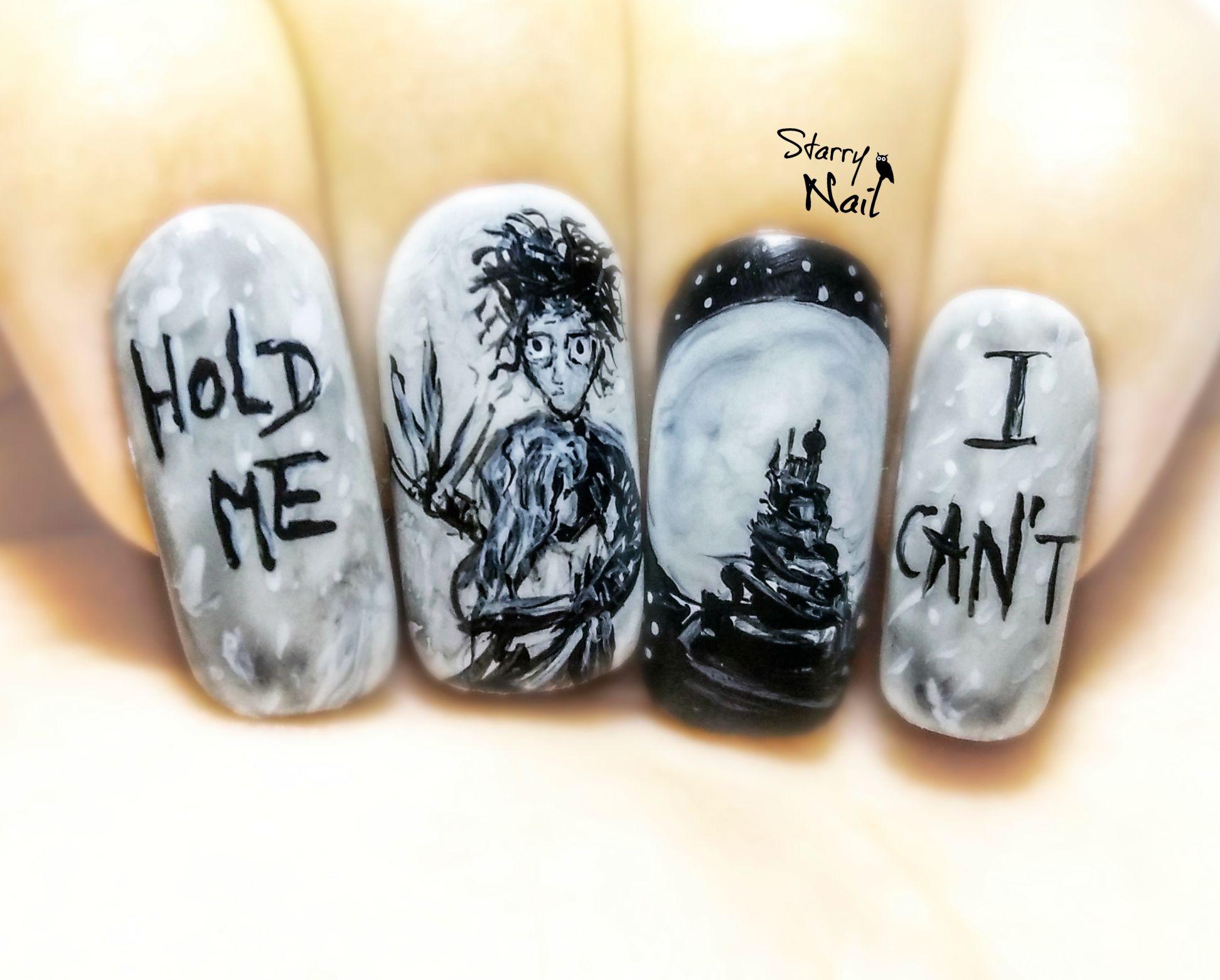 Edward Scissorhands ⎮ Freehand Nail Art Tutorial   Nail Art ...
