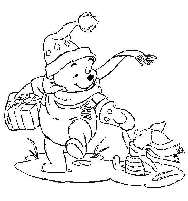 kleurplaten kerstmis winnie the pooh