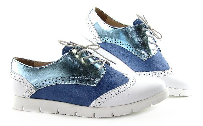 a5f1f1569 Dámske štýlové modro-biele topánky na šnurovanie KAMPA - Kabelky-topanky.sk