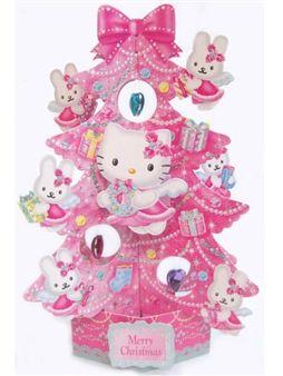 Hello Kitty Angel Christmas Tree Pop Up Greeting Card. Premium