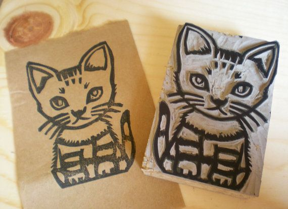A cat stamp hand carved linoleum block x by