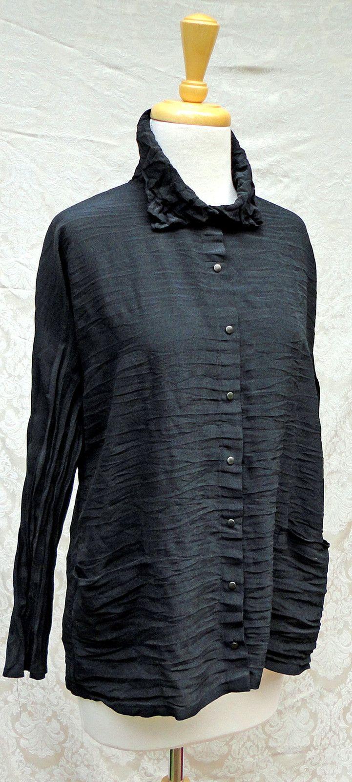Babette Sf Black Horizontal Pleats Snap Front Wrinkled Collar Shirt