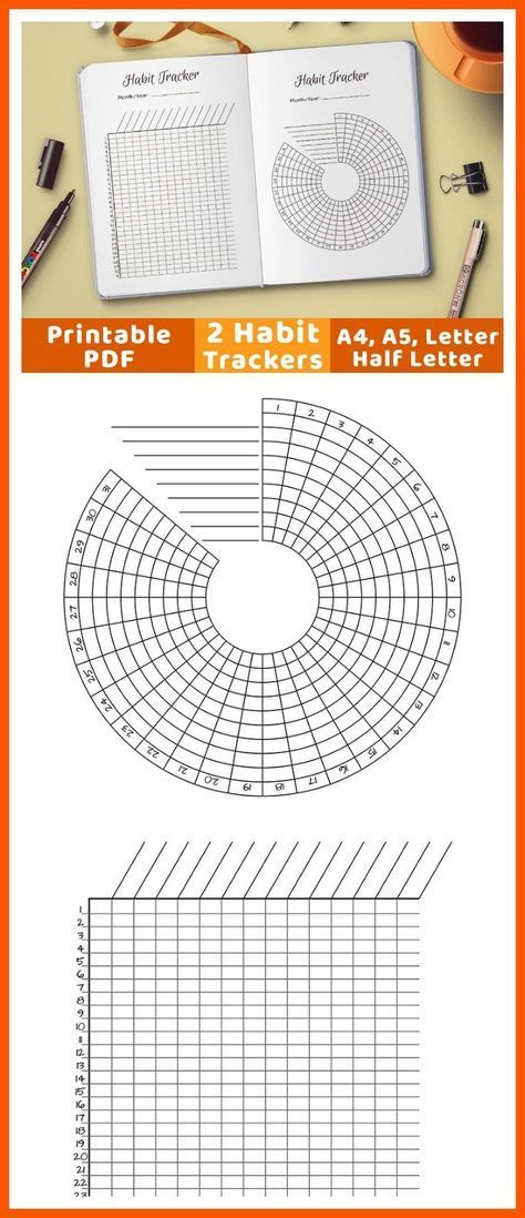 2 bullet journal habit trackers- one circle habit tracker + one - time off tracking spreadsheet