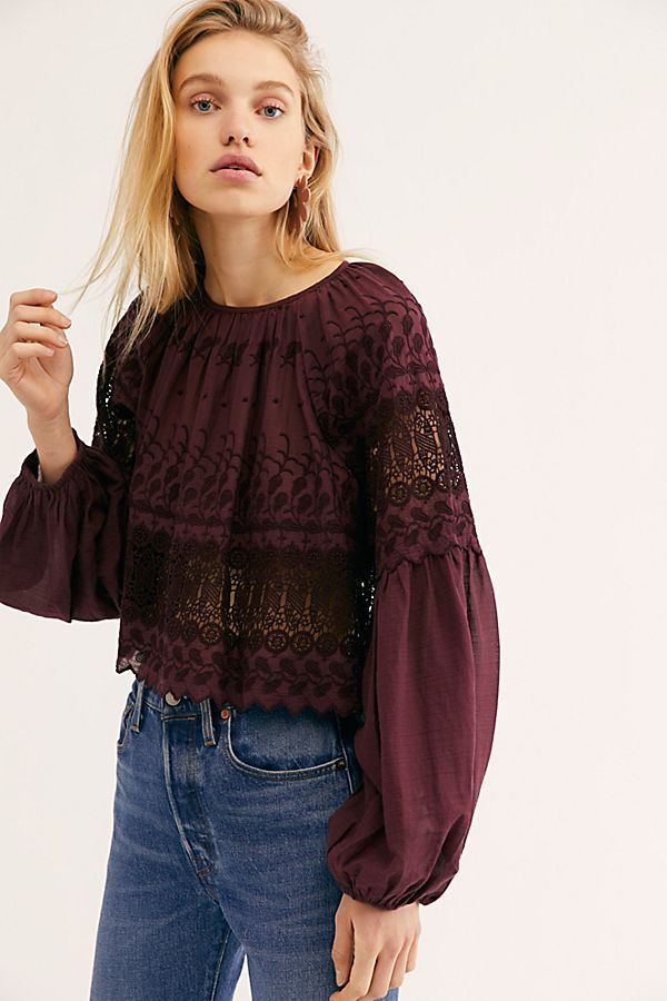 6ecf556dc0872 Perfect Duet Blouse - Plum Long Sleeve Lace Blouse with Tie Back - Deep  Purple Lace Top - Long Sleeve Purple Lace Tops - Open Back Long Sleeve Tops