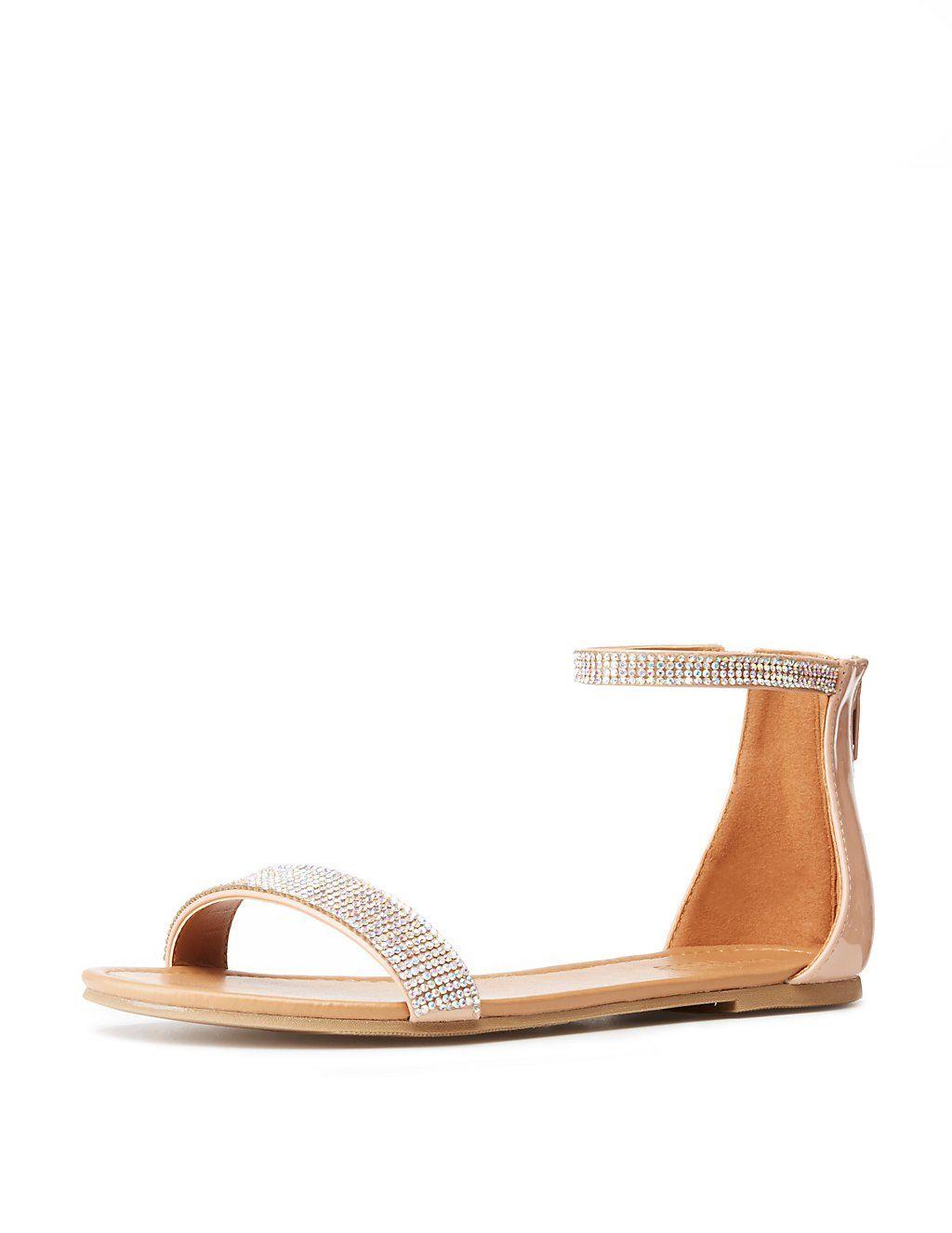 1b1c95c6a83224 Bamboo Rhinestone Ankle Strap Flat Sandals in 2019