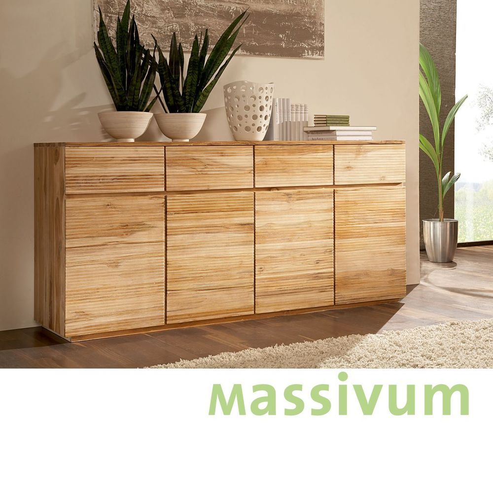 Sideboard Teak Massiv Holz Schränke Möbel Neu OSBON