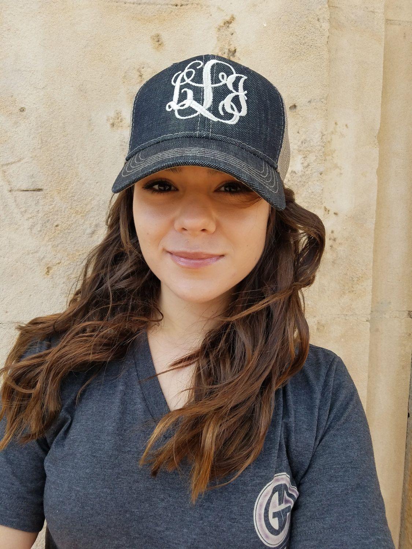 59971bded Monogrammed Hat, Monogram Baseball Cap, Trucker Hat,Womens Hat ...