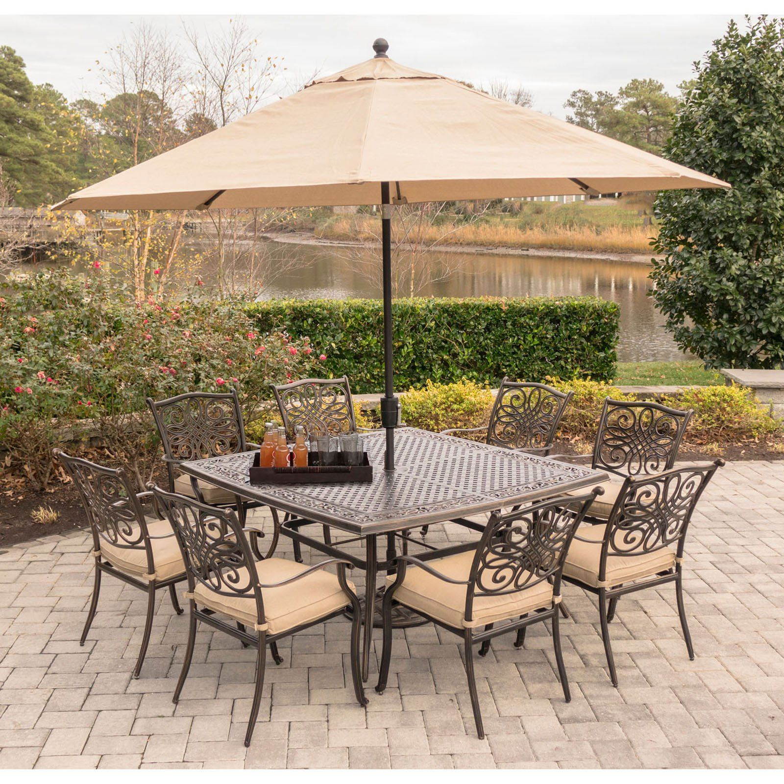 Hanover Traditions Aluminum 9 Piece Square Patio Dining Set