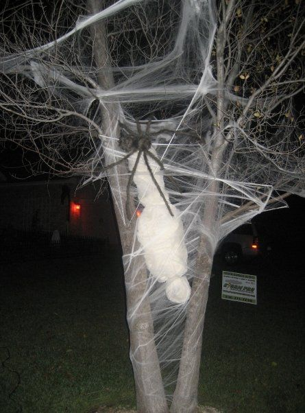 Hahaha, love it!! {Newspaper + cheese cloth + fishing line + - giant spider halloween decoration