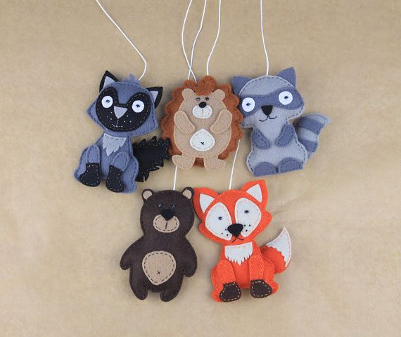 This listing is for ONE animal. Please choose from the dropping menu: racoon, wolf, fox, hedgehof, bear. And choose the way of finish: only toys, hanging ornaments, fridge magnets. Measures of each (approx.): 3,5*4,5. Perfect as a lovely gift, gift topper, cake topper, crib mobile set, or baby nursery decor. This item is ready to ship. Read shipping policy here http://www.etsy.com/shop/MiracleInspiration/policy Made in non-smoking area!! Thanks so much for visiting ...