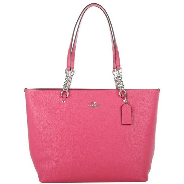 Coach Sophia Tote Dahlia in magenta, Handle Bags ($305) ❤ liked on Polyvore featuring bags, handbags, tote bags, magenta, coach tote, genuine leather tote, leather zipper tote, leather tote bags and pink tote