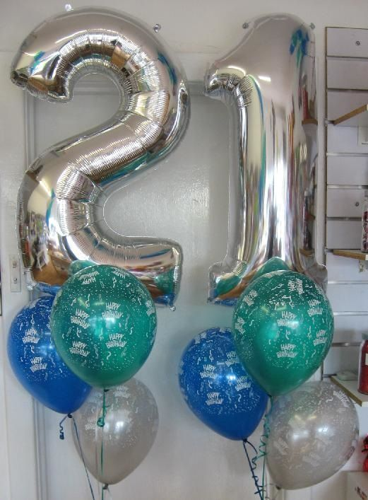 Silver Supershape 21st Birthday Balloons With Happy Latex