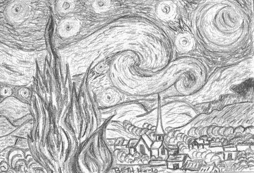 Miniature Starry Night Pencil Sketch Starry Night