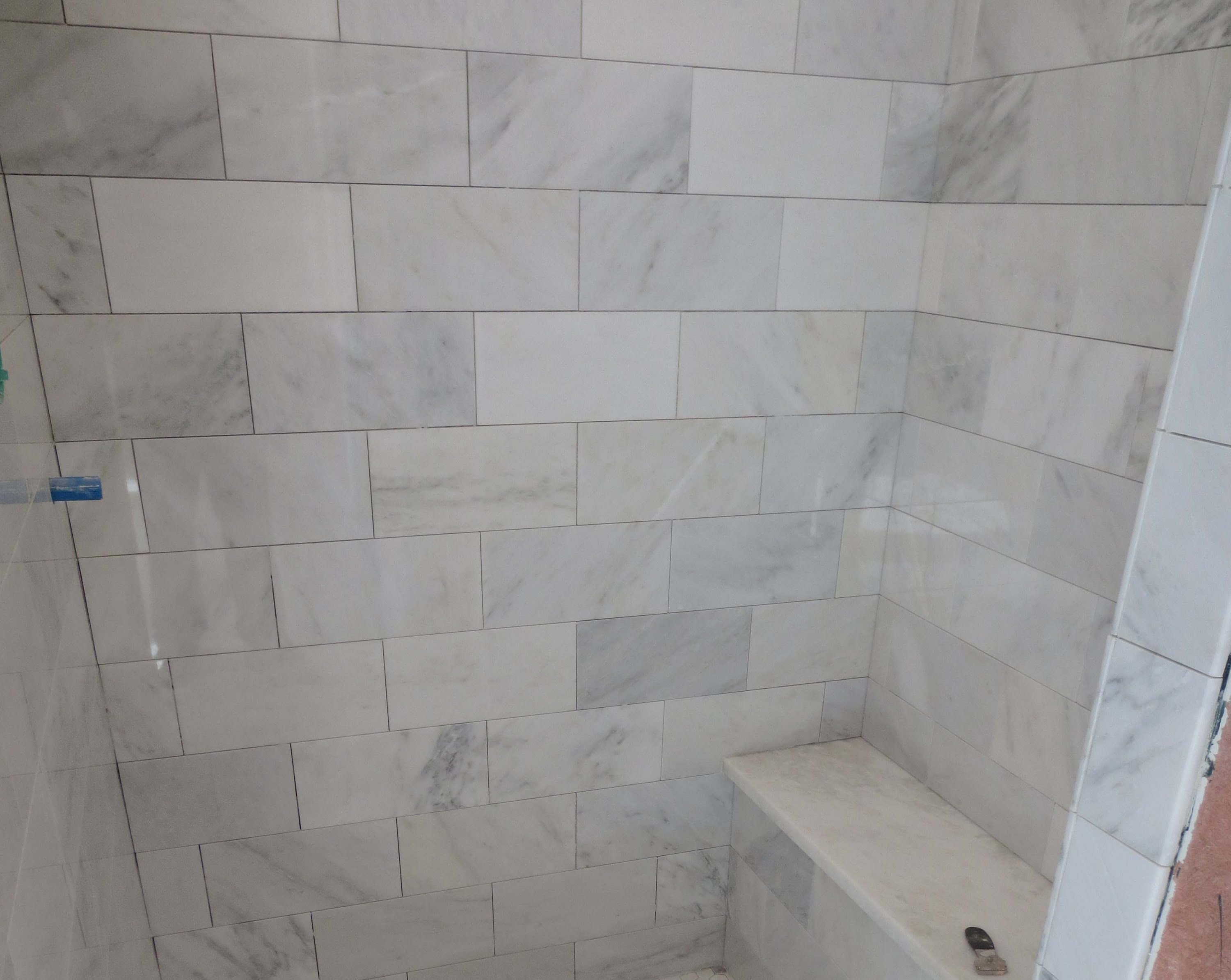 White Marble Tile Bathroom the marble carrara tile bathroom part 3 close up look installing