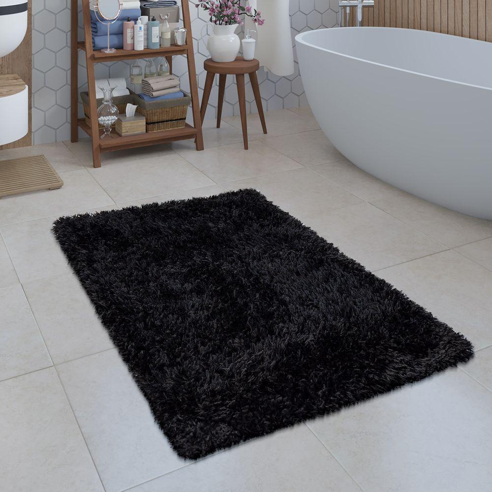 Badezimmer Teppich Shaggy Einfarbig Schwarz Badezimmerteppich Badematte Badteppich