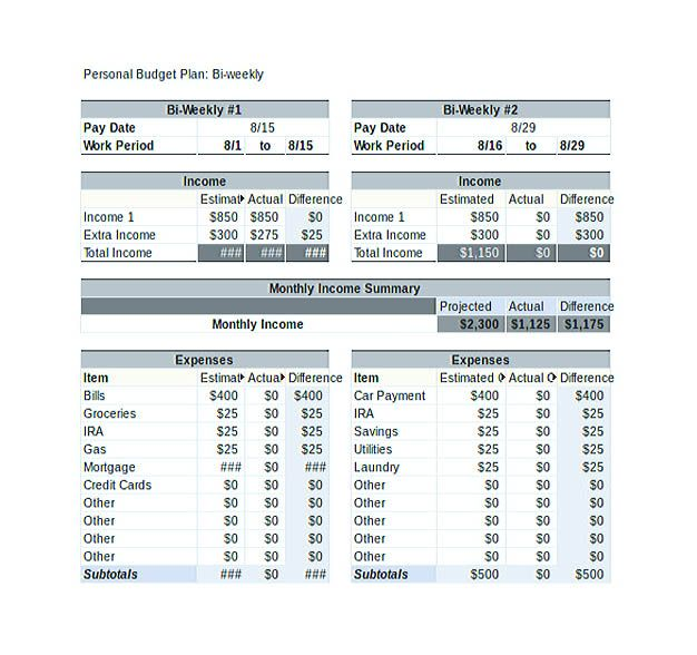 bi weekly personal budget template excel file download weekly