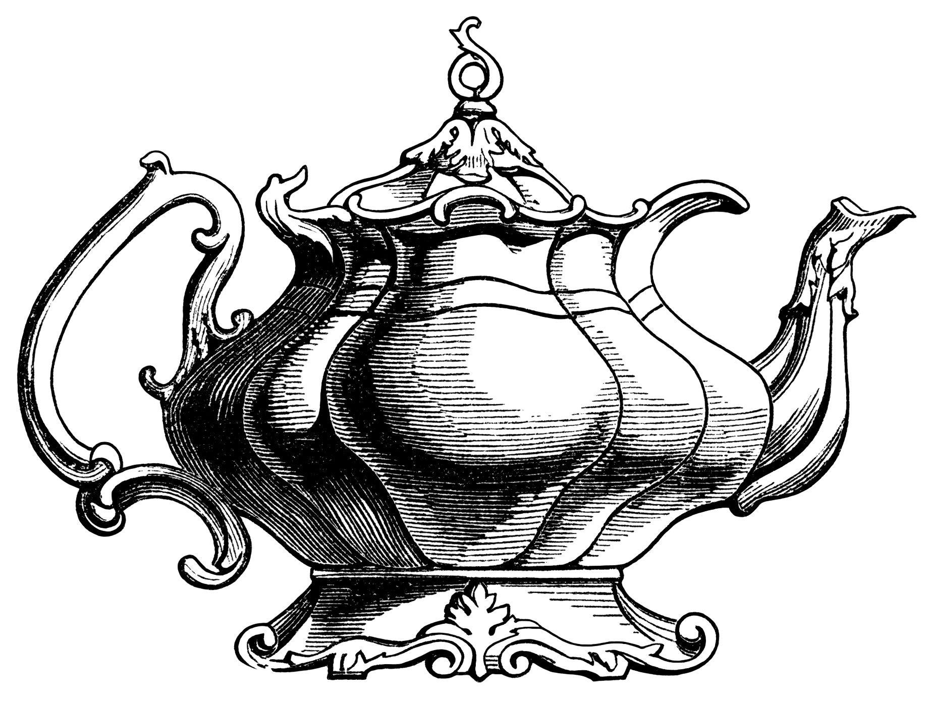 Victorian Tea Pot Ilration Vintage Teapot Clipart Black And White Graphics Free Kitchen Printable Antique Engraving