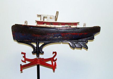 Tugboat Weathervane Made In The 1940 S By Major Payne Of Stumpy Point N C Weather Vanes Weathervanes Chimney Cap
