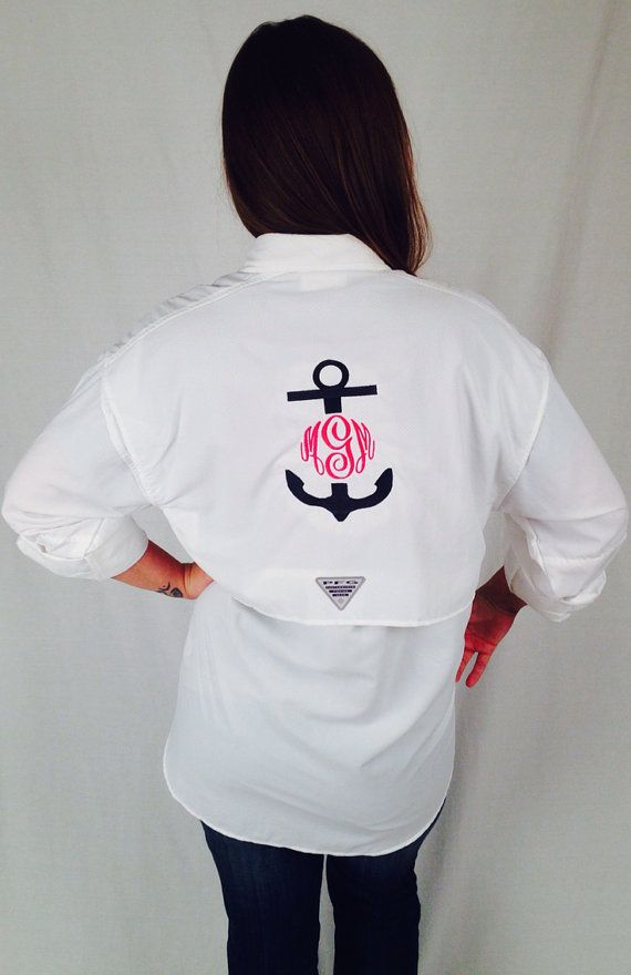 Monogram fishing shirt pfg columbia large anchor on for Monogram fishing shirt