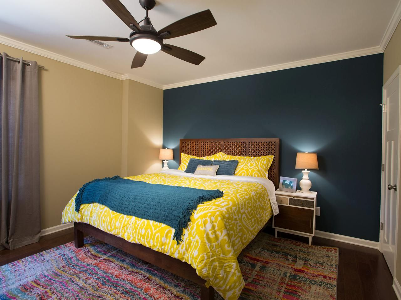 Dark gray and yellow bedding - After Newly Hung Drywall A Dark Hardwood Floor And A King Size Bed