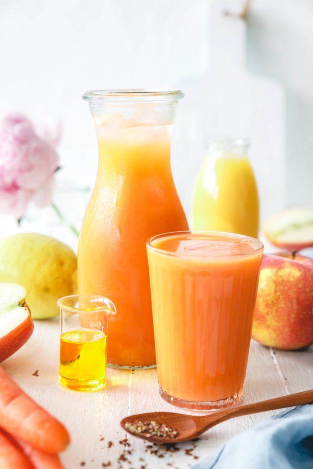 Leckerer Frühstückssmoothie mit Apfel & Karotte – 5 a day #frozenbananarecipes