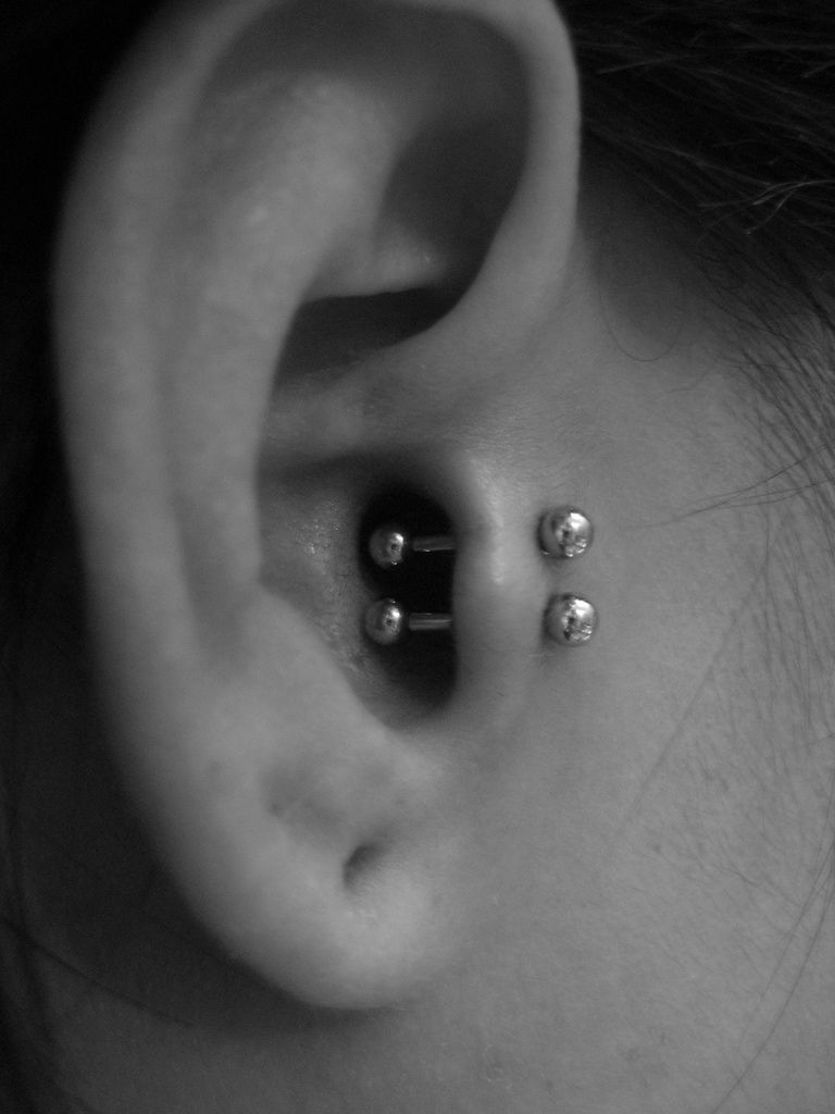 Double Tragus Piercing on