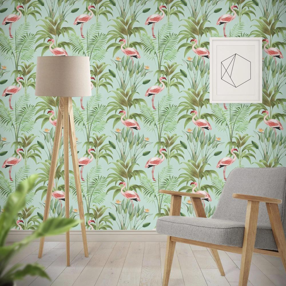 Tropical Flamingo Peel And Stick Wallpaper Wallpaper Roll Flamingo Wallpaper