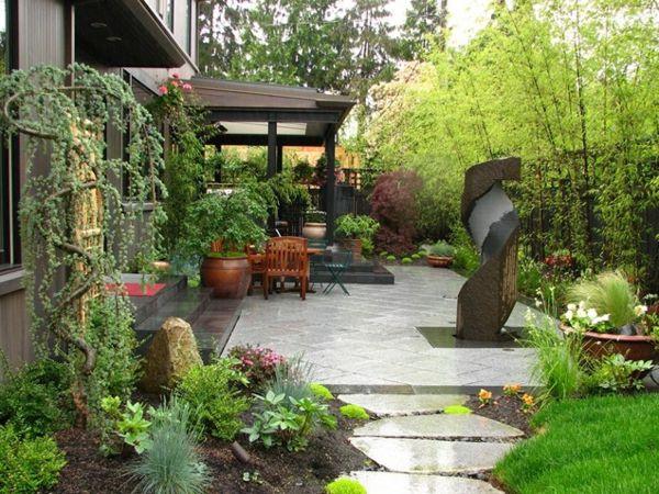 beispiele gartengestaltung moderne gärten bilder baum hinterhof - moderner vorgarten mit kies