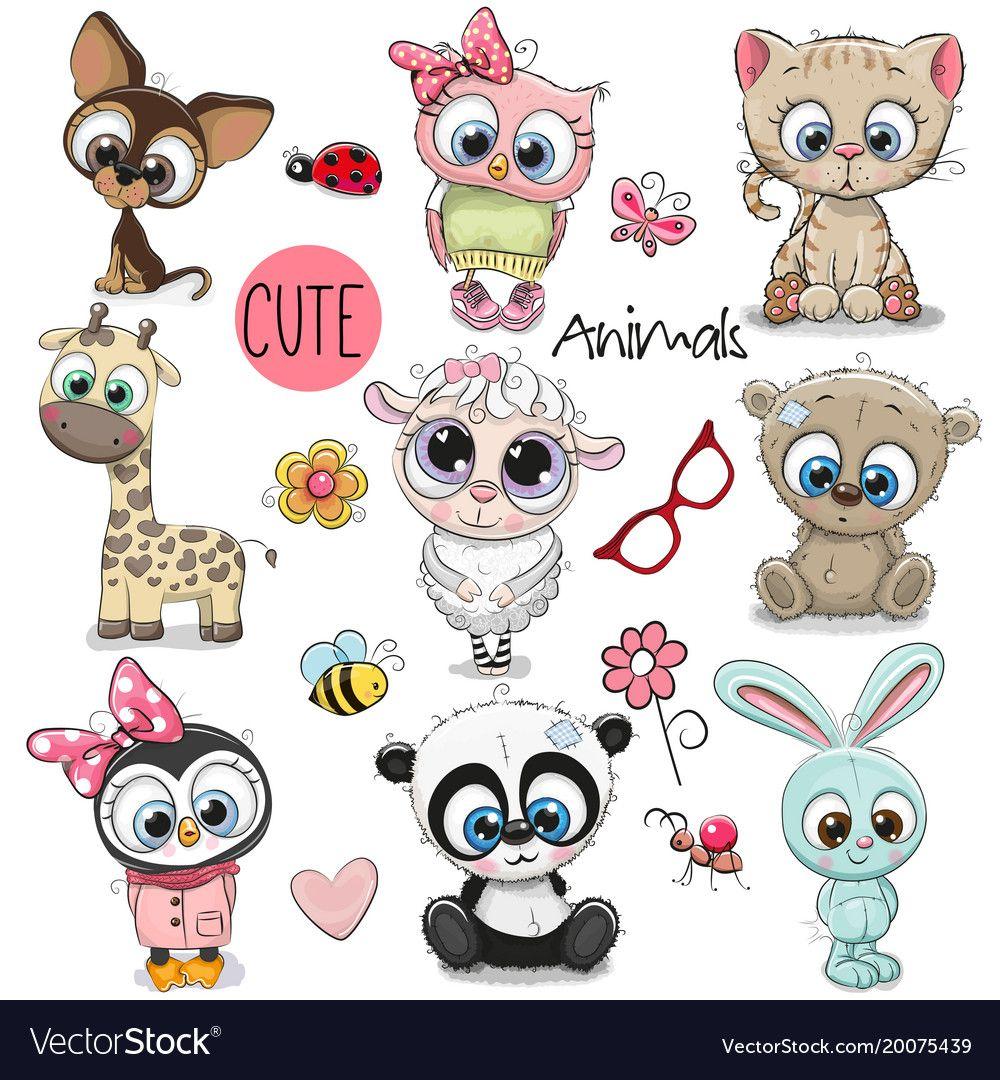 Set Cute Cartoon Animals Vector Image On Cute Cartoon Animals