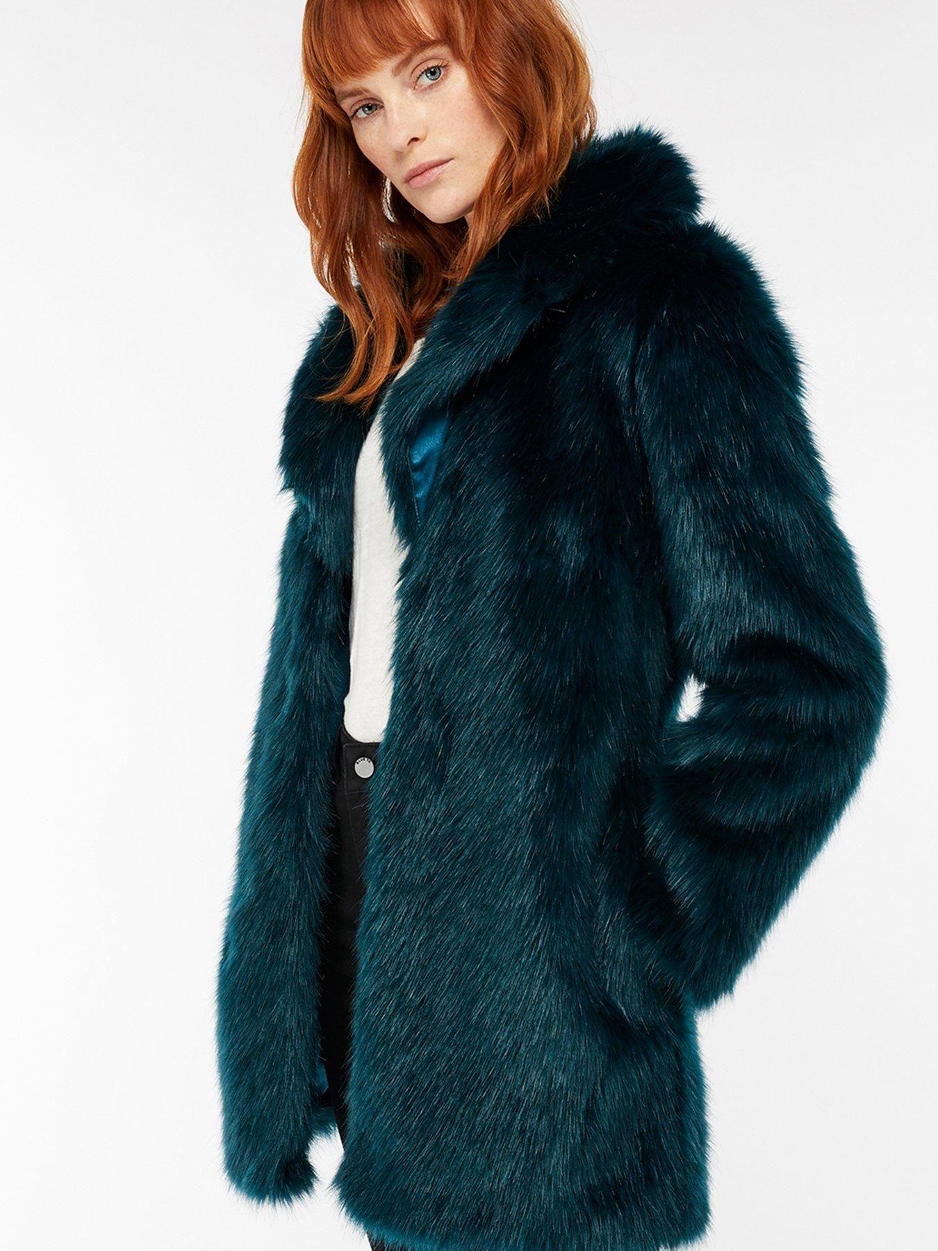 795a241c5e2 Freddie Faux Fur Jacket - Teal | Ultimate Top Layers | Faux fur ...