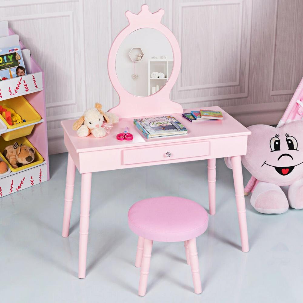 Kids Vanity Makeup Table Chair Set Make Up Stool Hodge