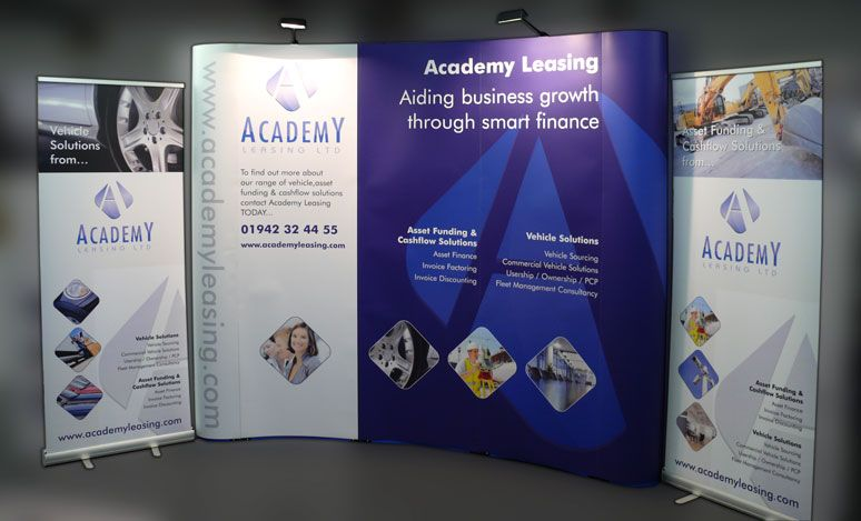 Fabric Exhibition Stand Examples : Pop up display stand with standard roller banners
