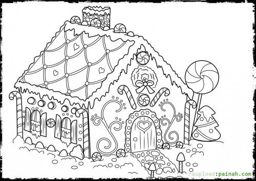 Gingerbread House Coloring Pages 154436 500x355