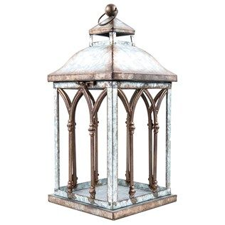 Large Galvanized Tin Lantern With Arches Shop Hobby Lobby Glass Lantern Lanterns Lantern Candle Holders