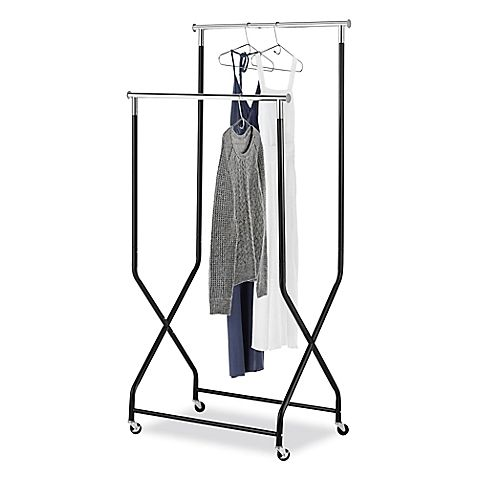 Bed Bath And Beyond Garment Rack Delectable Whitmor 2Tier Flared Rolling Garment Rack In Black At Bed Bath Inspiration