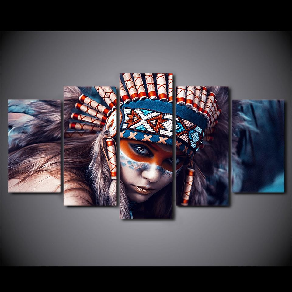 5 Panel Canvas Art American Indian Girl Print Wall Art On Canvas For Living Room Home Decor Ideias Para Telas Arte Abstrato