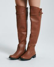 Vegan Leather Over-The-Knee Boots With Curve Top Vegan Leather Over-The-Knee Boots With Curve Top